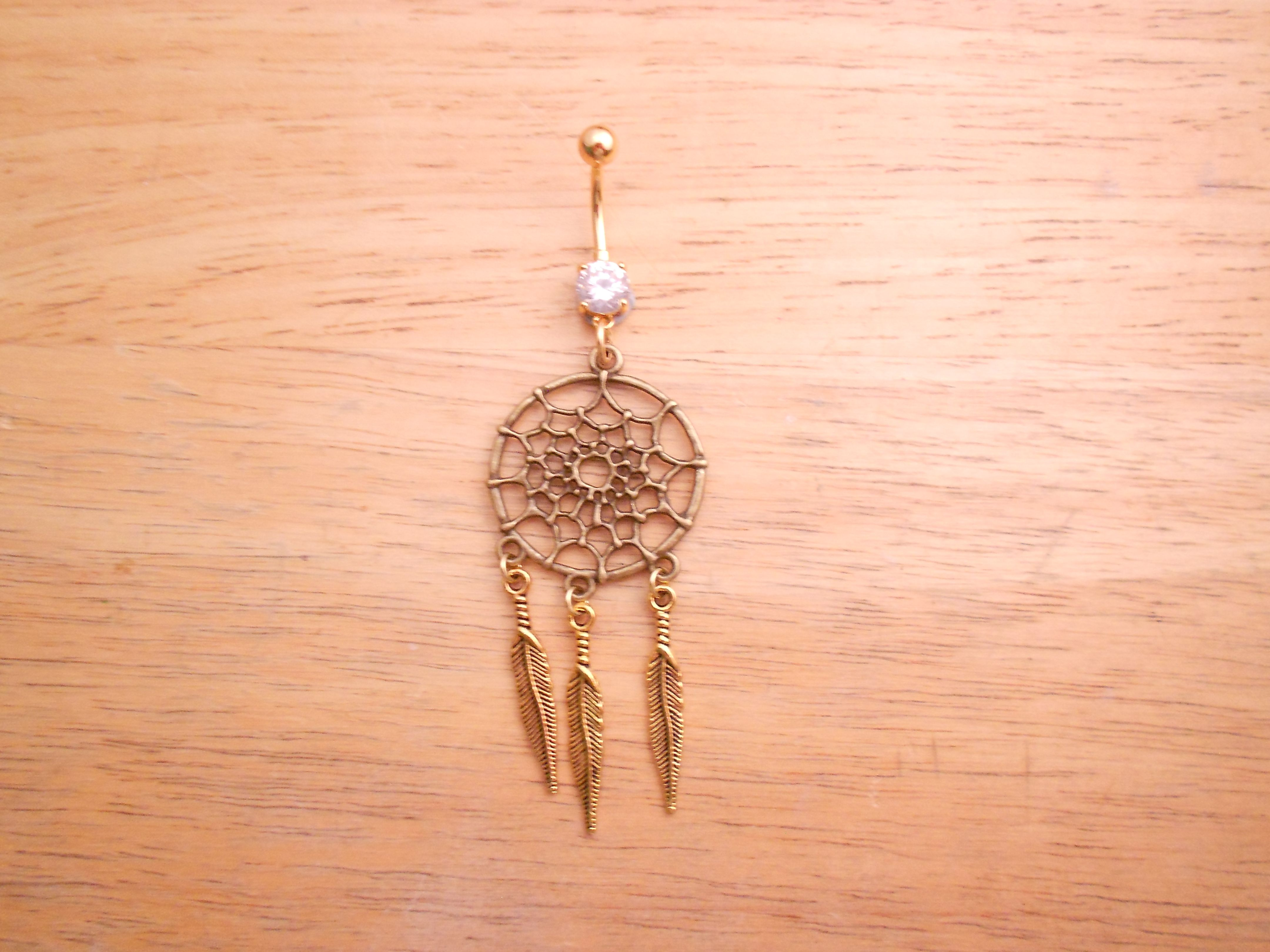 Dream catcher belly piercing  Gold Dream Catcher Belly Button Ring syshop