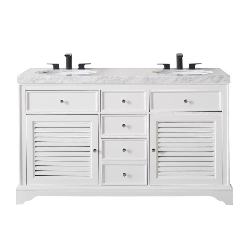 Stufurhome Magnolia 60 In Bath Vanity In White With White Marble