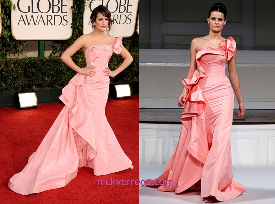 68th Annual Golden Globe Awards Fashion: Lea Michele in Oscar de la Renta Spring 2011