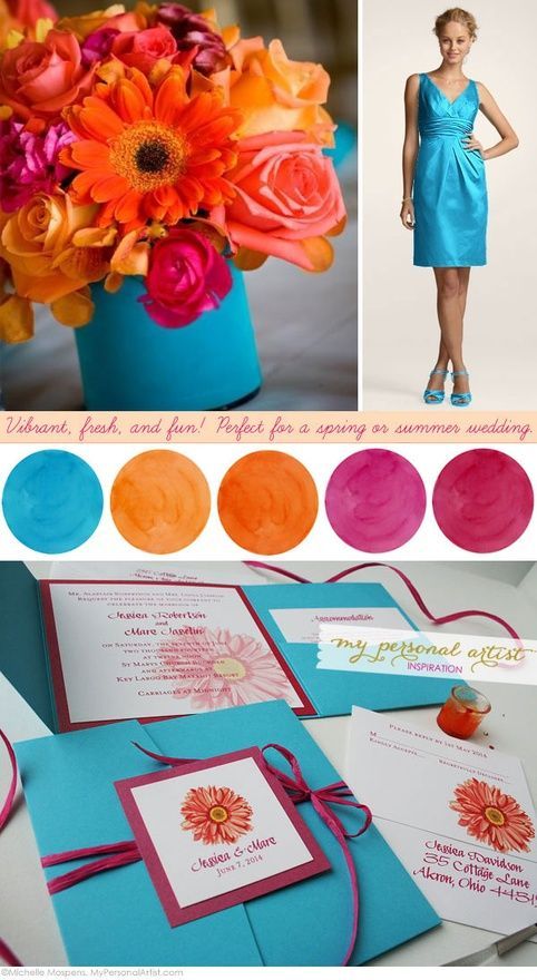 summer wedding color ideas, blue and the orange...maybe not that ...