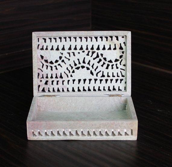 Hand Carved Vintage Jewelry Box  Gorara Stone by IBelong2You