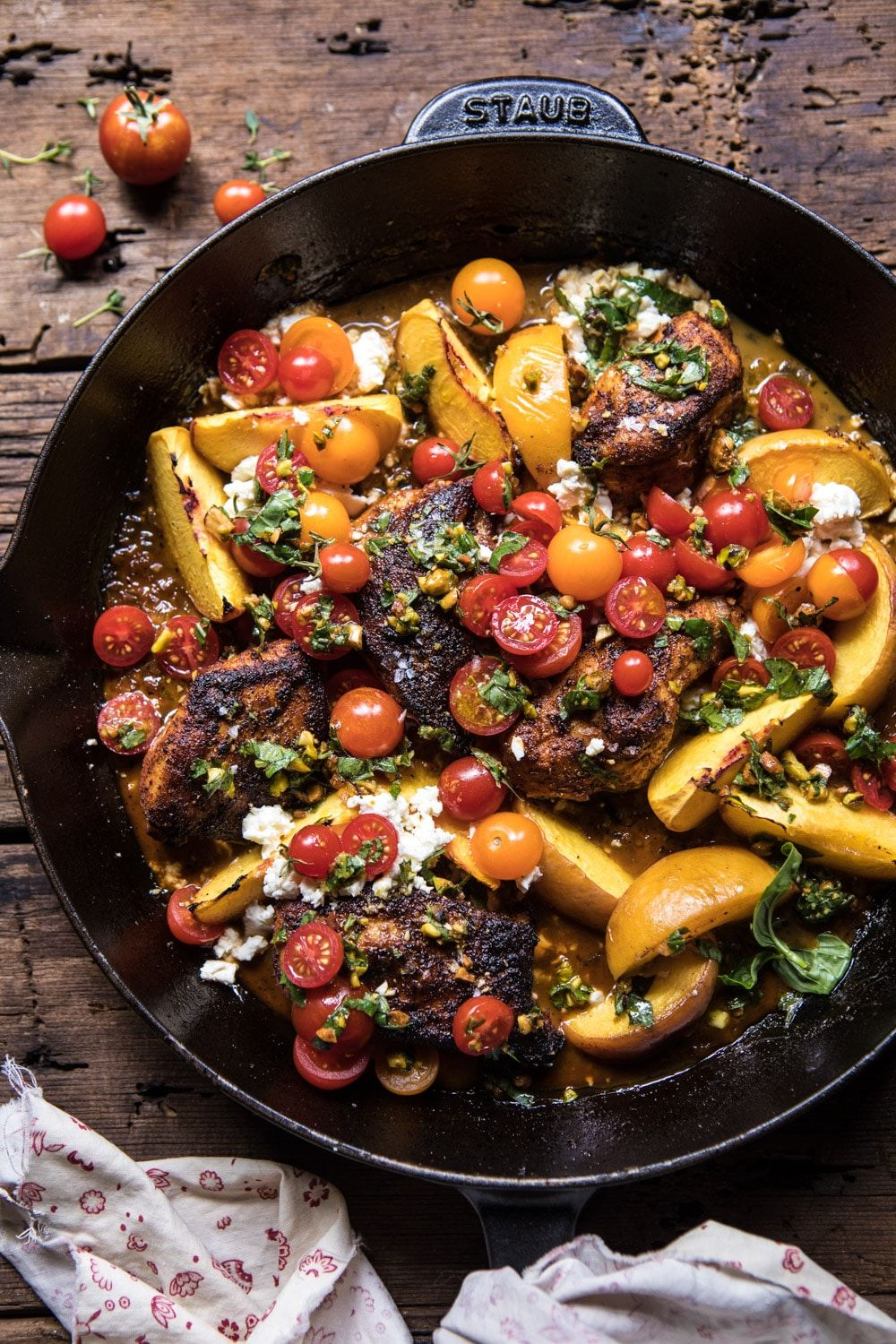 Skillet Moroccan Chicken with Tomatoes, Peaches, a