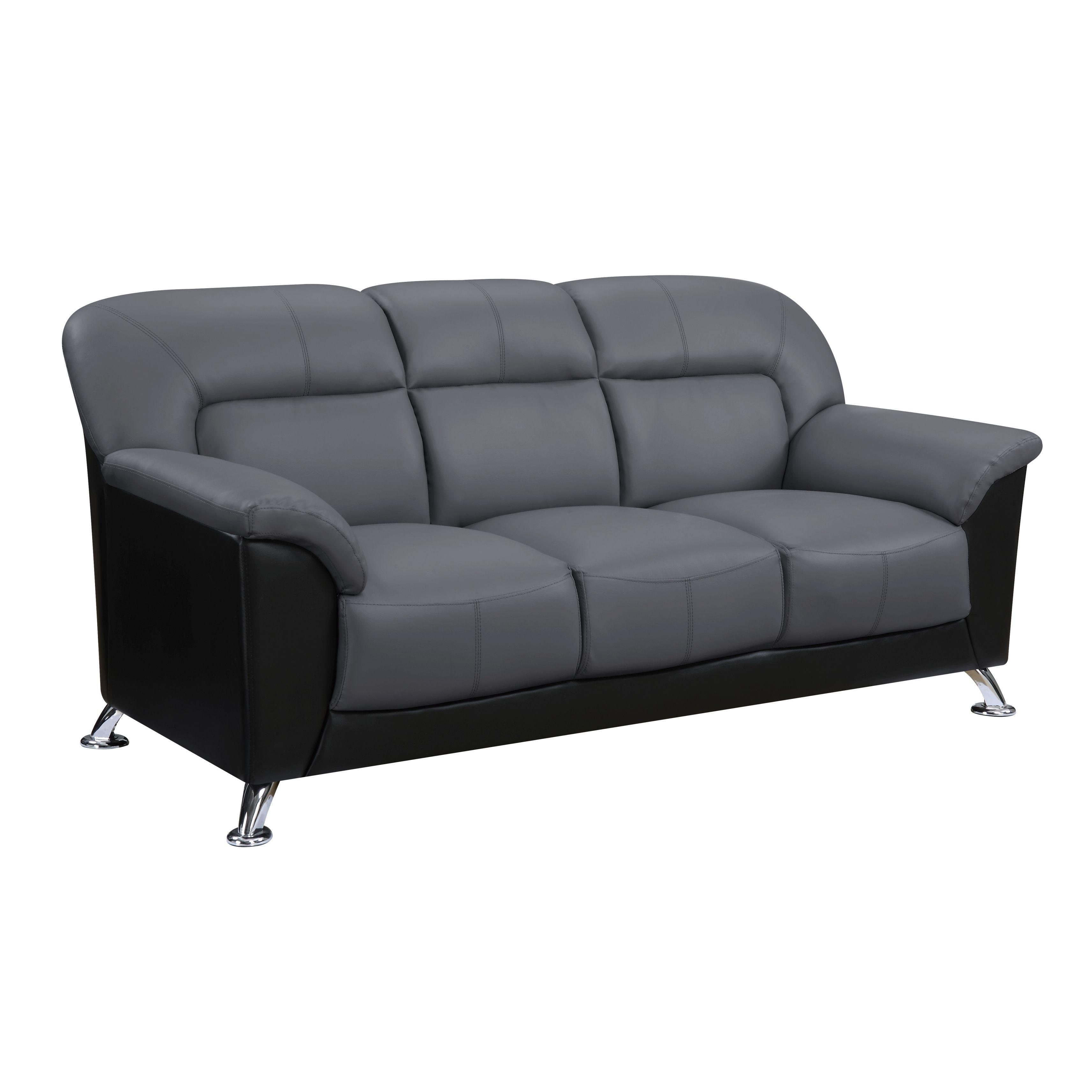 USA Global Furniture Dark Grey Fabric Black Faux Leather Sofa (Sofa Dark  Grey/Black