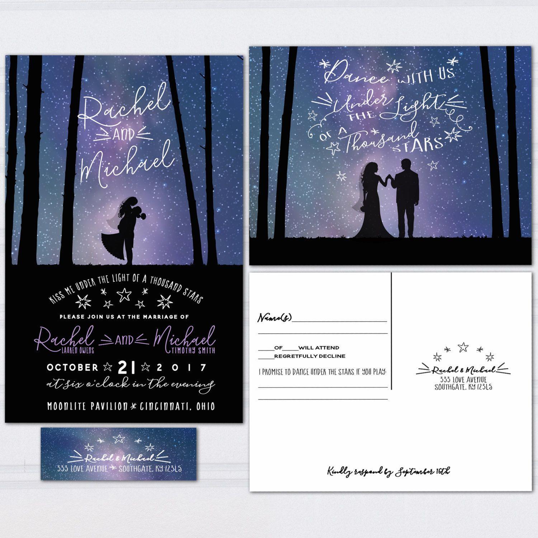 Galaxy Wedding Invitations Under The Stars Invite Set Outdoor Starlight Wedding Invitation Budget