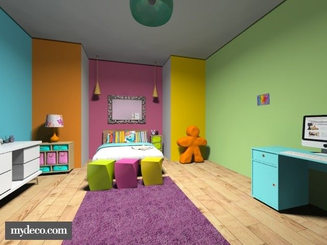 Rainbow bedroom. multi-colored walls. colorful home decor ...