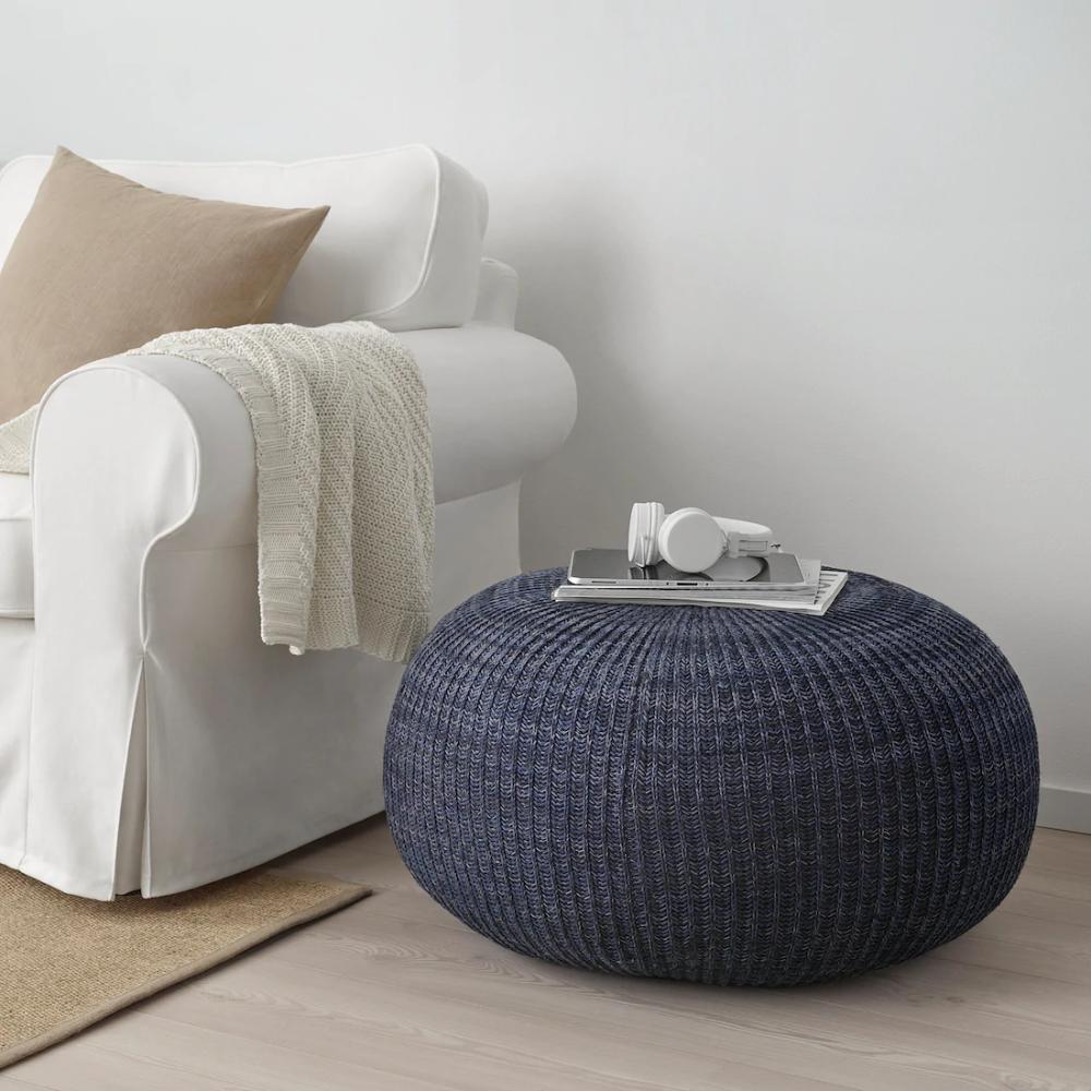 Sandared Pouffe Dark Blue Ikea In 2020 Pouffe Ikea Dining Chair Slipcovers