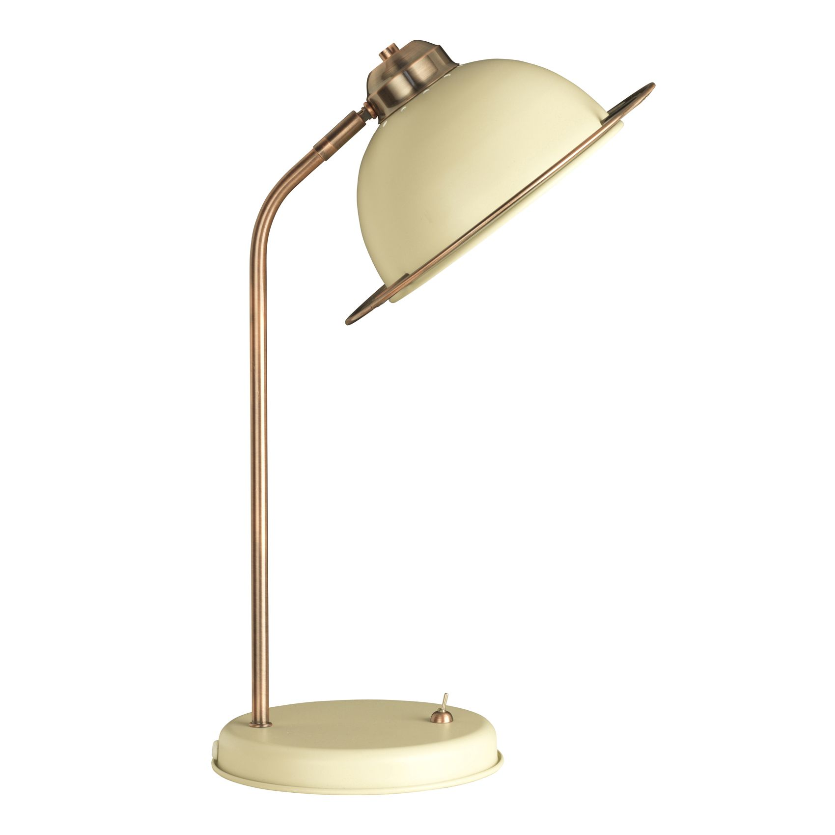 Large table lamps for living room - Large Retro Bauhaus Table Study Desk Lamp With Cream Shade Base Copper And Brushed Cream Finish Ideal For Bedside Reading Study Lamp And Work Light