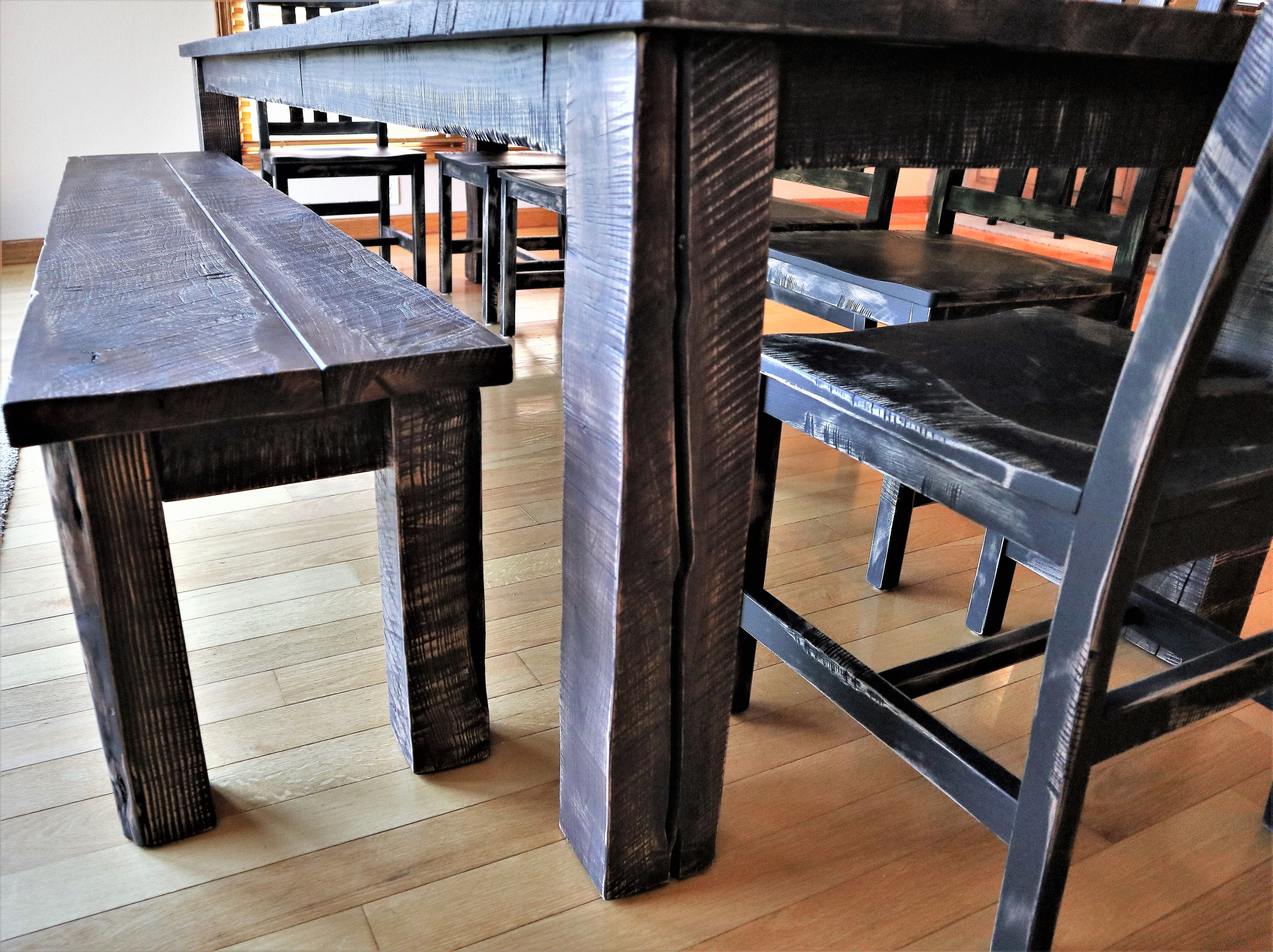 Heavily distressed traditional bench