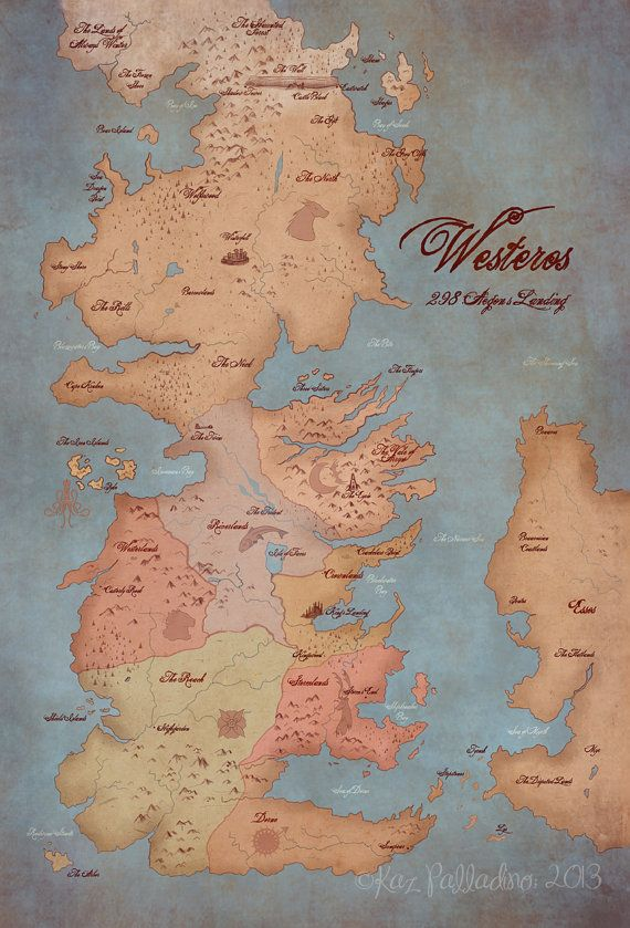 Map of Westeros- Game of Thrones- 13x19 inch Illustration/ Art Poster- Geek Home Decor