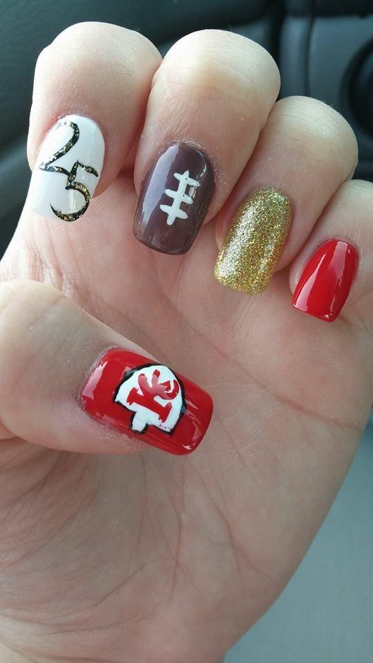 Kansas City Chiefs Naills | Nails!!! | Pinterest | Kansas, Football ...