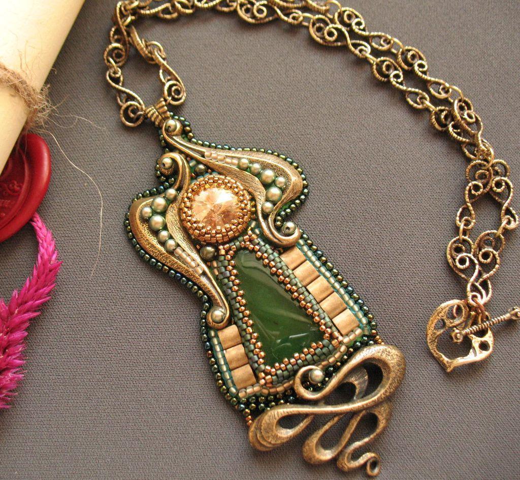 "Купить Кулон""Сюита"" - зеленый, кулон с нефритом, зеленый кулон, болотный цвет, фурнитура Анны Черных"
