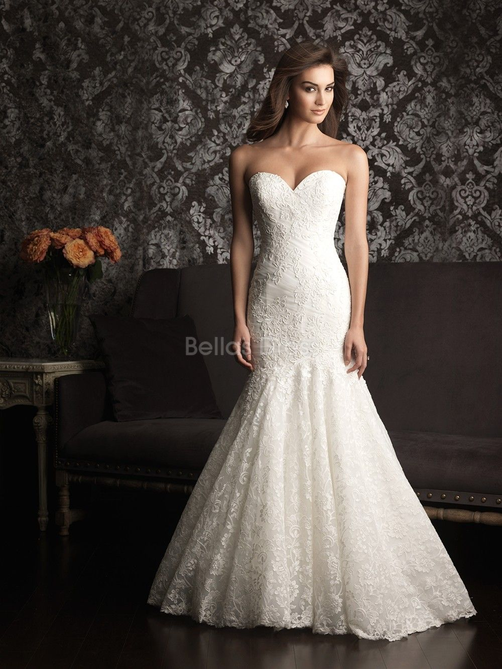 Luxurious mermaid lace court train sweetheart wedding for Lace dresses for weddings