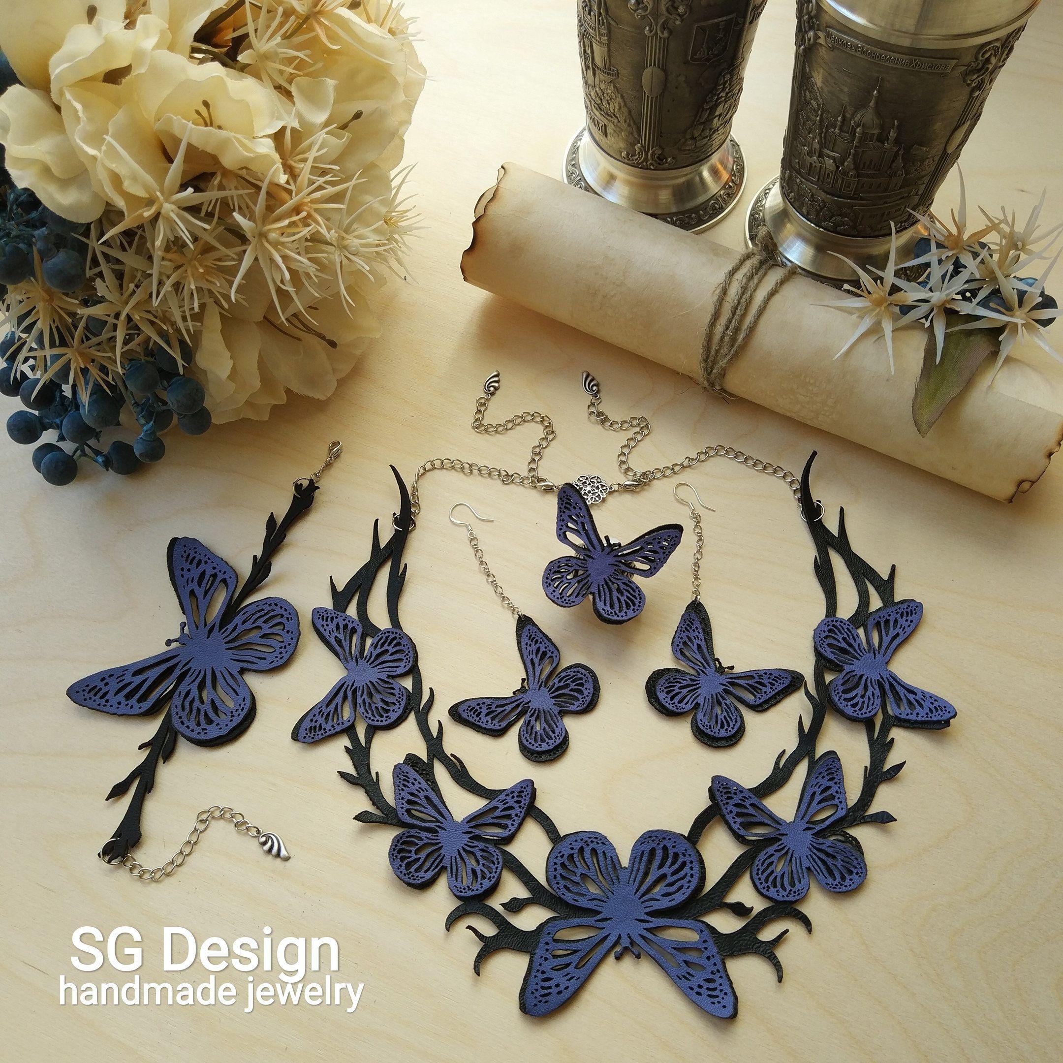 3D Butterfly Leather Set, Bracelet, Earrings, Necklace