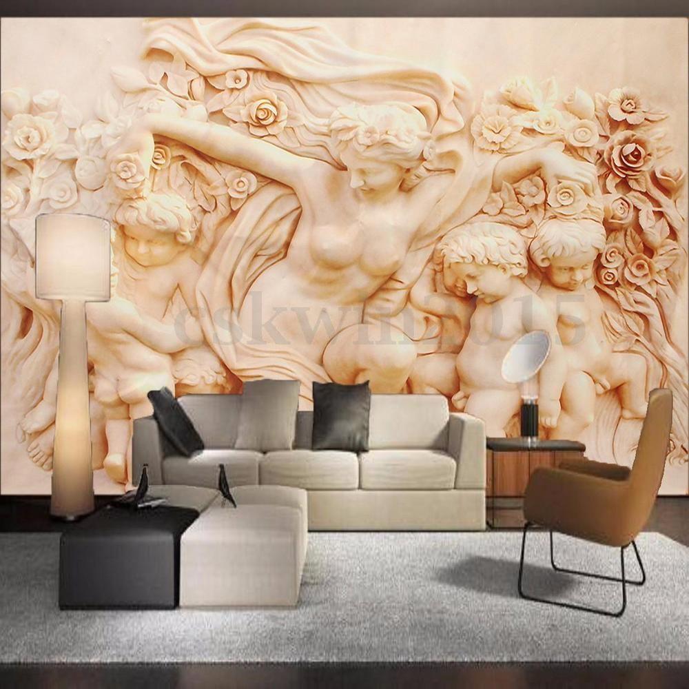 3d wallpaper bedroom mural roll modern roman style cherub for Angel wall mural