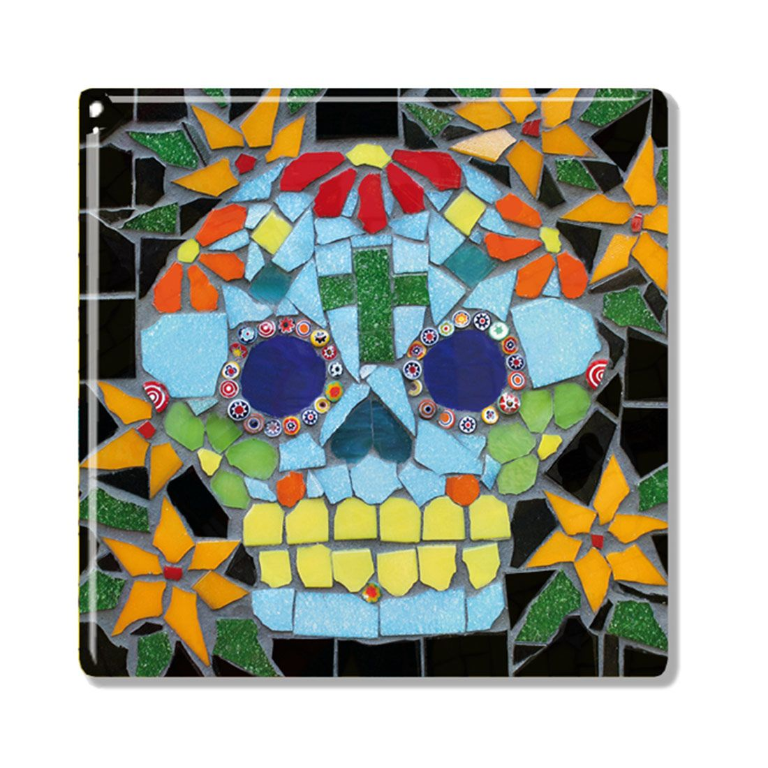 Blue day of the dead mexican mosaic style candy skull ceramic blue day of the dead mexican mosaic style candy skull ceramic coaster ceramic tile dailygadgetfo Choice Image