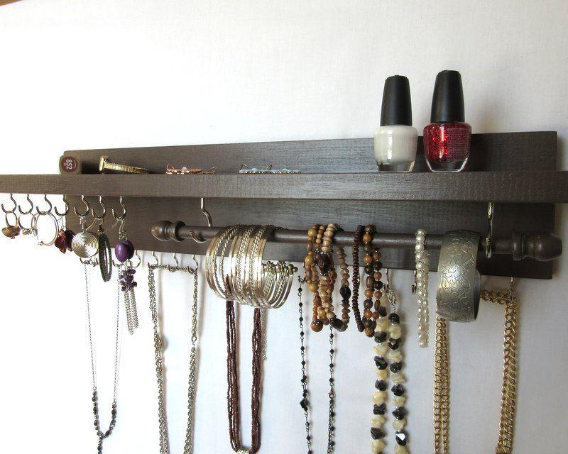 Jewelry/Necklace Holder - Wall Hanging Necklace Storage - Jewelry Display - Jewelry Rack - Wide Shelf - Bracelet Bar- 28 Hooks by ThePineTreeShop on Etsy & Earring Stud Holder - Wall Earring Hanger - Wall Jewelry Organizer ...