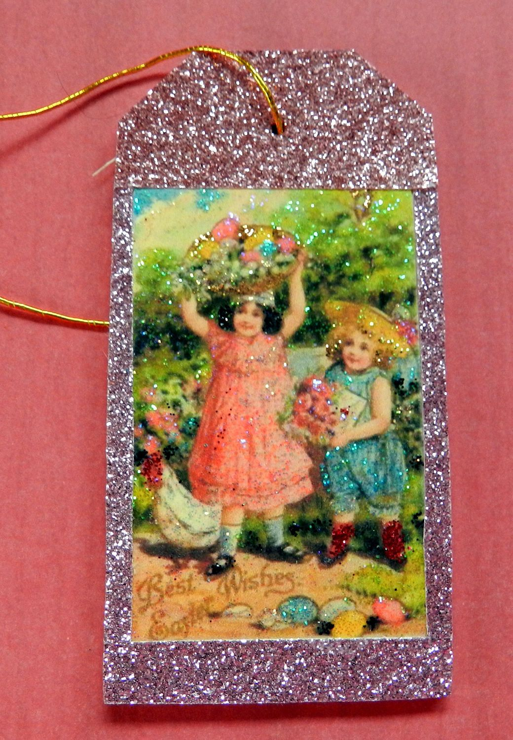 Vintage easter girls easter gift tag glitter wood tag easter vintage easter girls easter gift tag glitter wood tag easter wishes vintage negle Choice Image