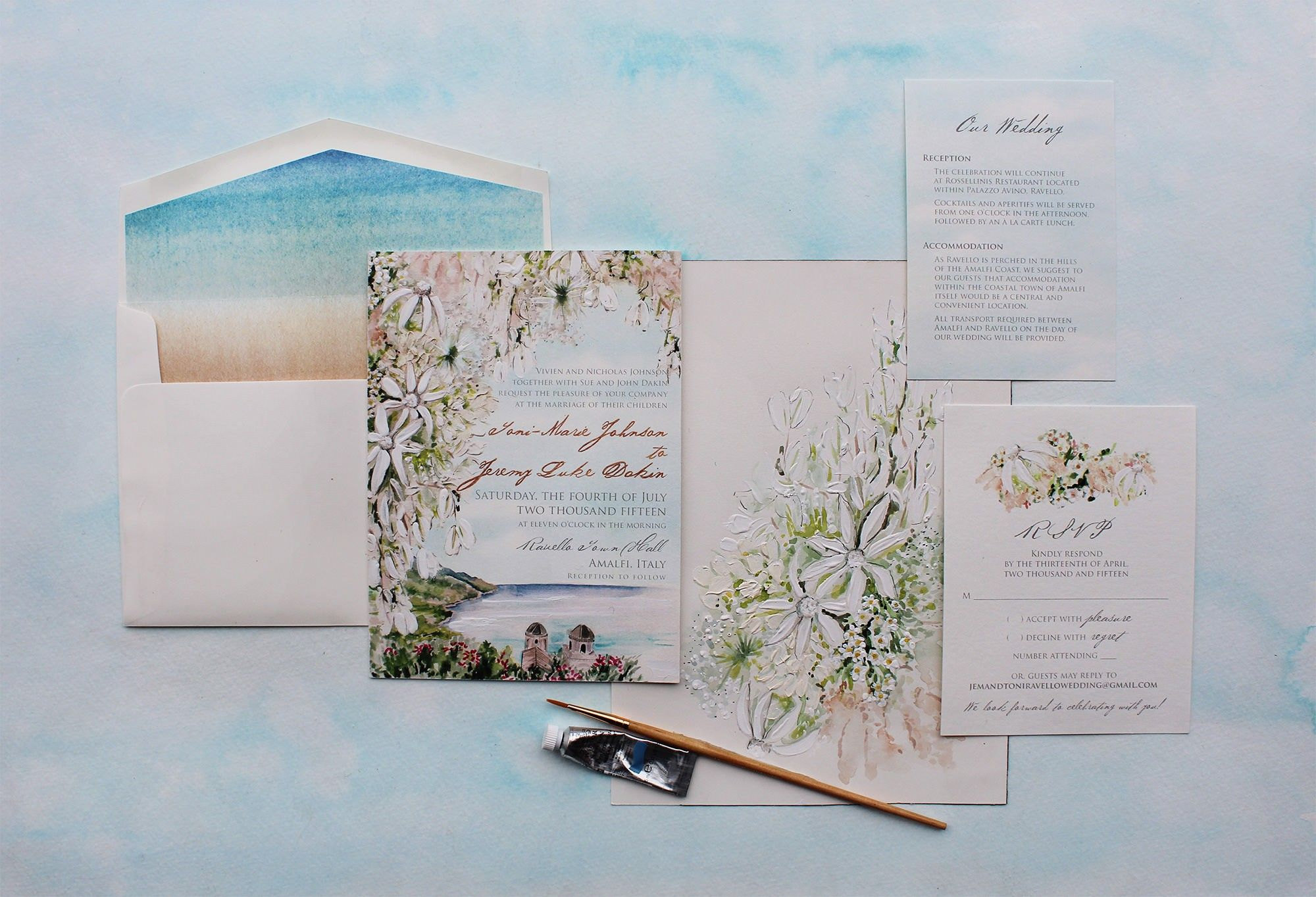 Landscape Amalfi Coast Hand Painted Wedding Invitation