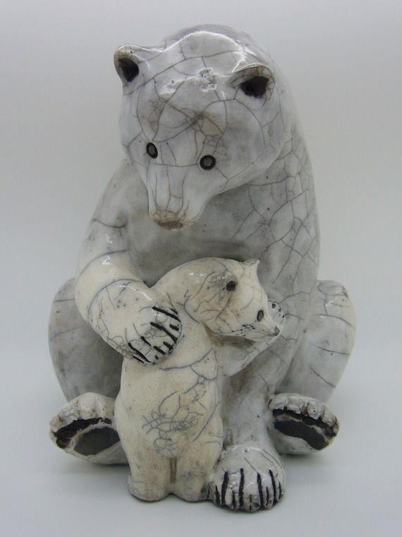 maman ours blanc assise cuisson raku poterie c ramique sculture terre pinterest raku. Black Bedroom Furniture Sets. Home Design Ideas