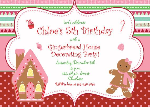 Gingerbread house Christmas party invitation by TheButterflyPress – Gingerbread Party Invitations