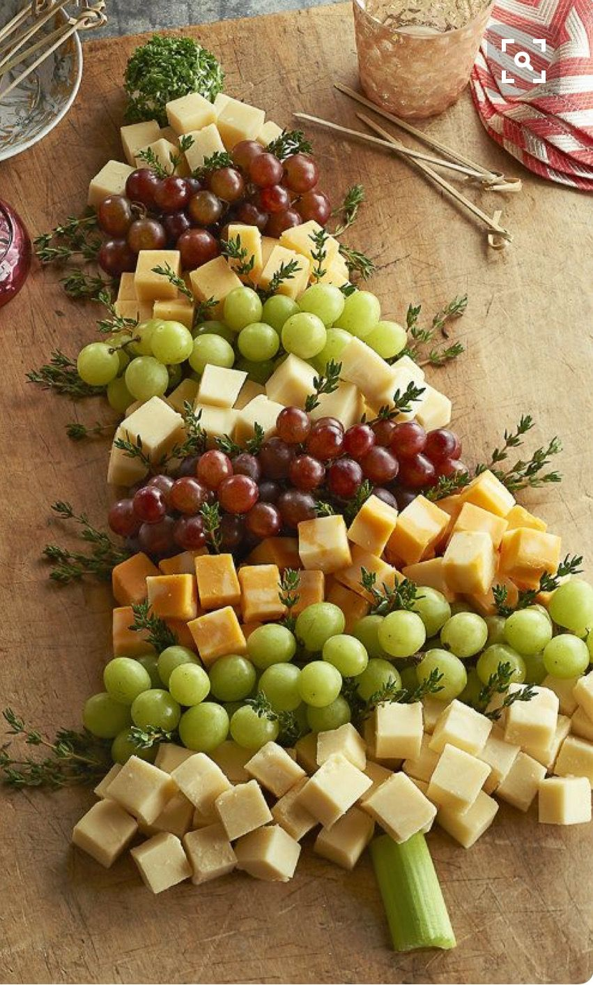 Christmas Party Food Ideas Buffet Part - 30: Grape, Thyme And Cheese Shaped Christmas Tree Appetizer Add Some Fresh  Natural Elements To Your Gift Wrapping A Sim.: Plus