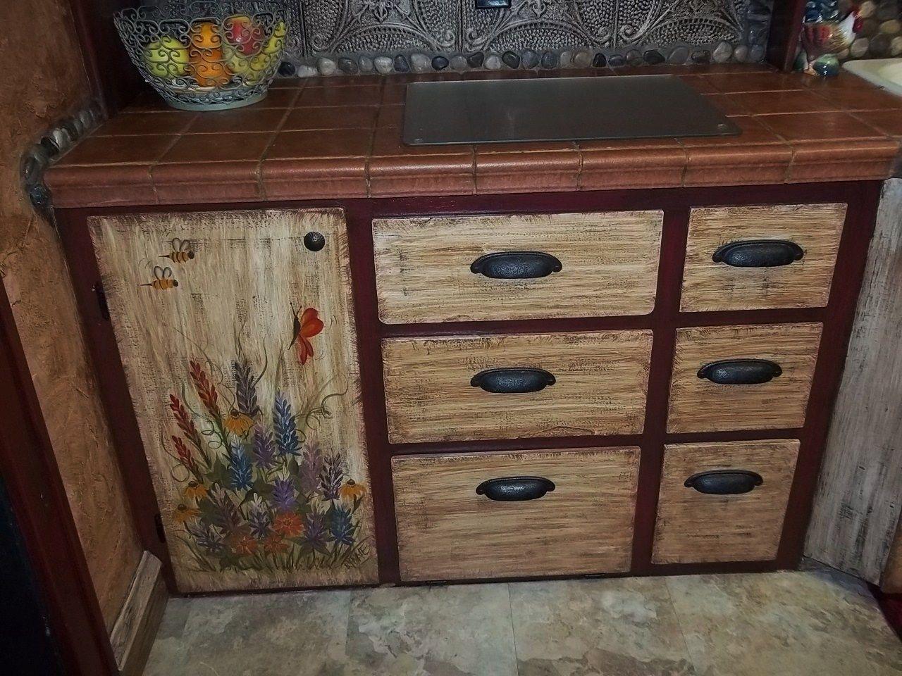 Bottom Half Of My Kitchen Cupboard Doors I Hand Painted A Wildflower Theme Door Lupines Painting Oak Cabinets Painting Cabinets Painting Kitchen Cabinets