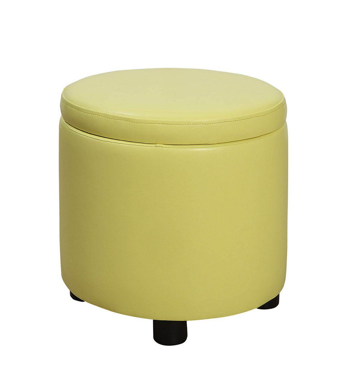 Designs4comfort Round Accent Storage Ottoman In Yellow