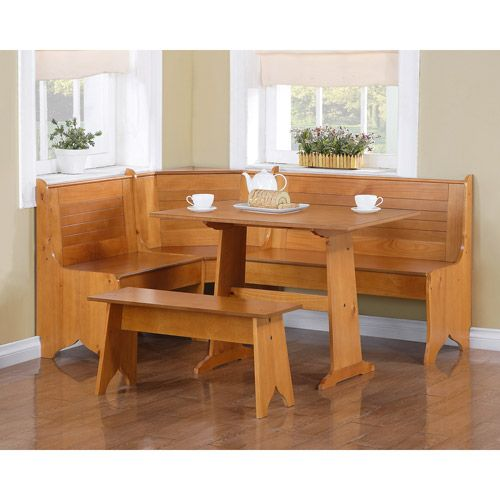 kitchen corner nook dining set sets images about dream breakfast nooks deep linon chelsea in natural finish bench b