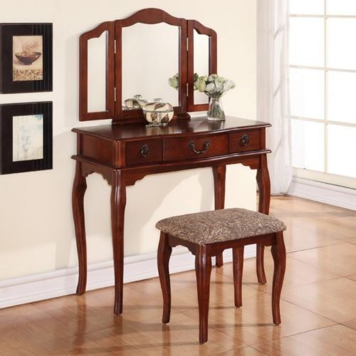 tri folding mirror cherry wood vanity set makeup table dresser 3 drawers stool