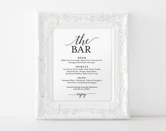 Bar Menu Sign The Wedding Printable