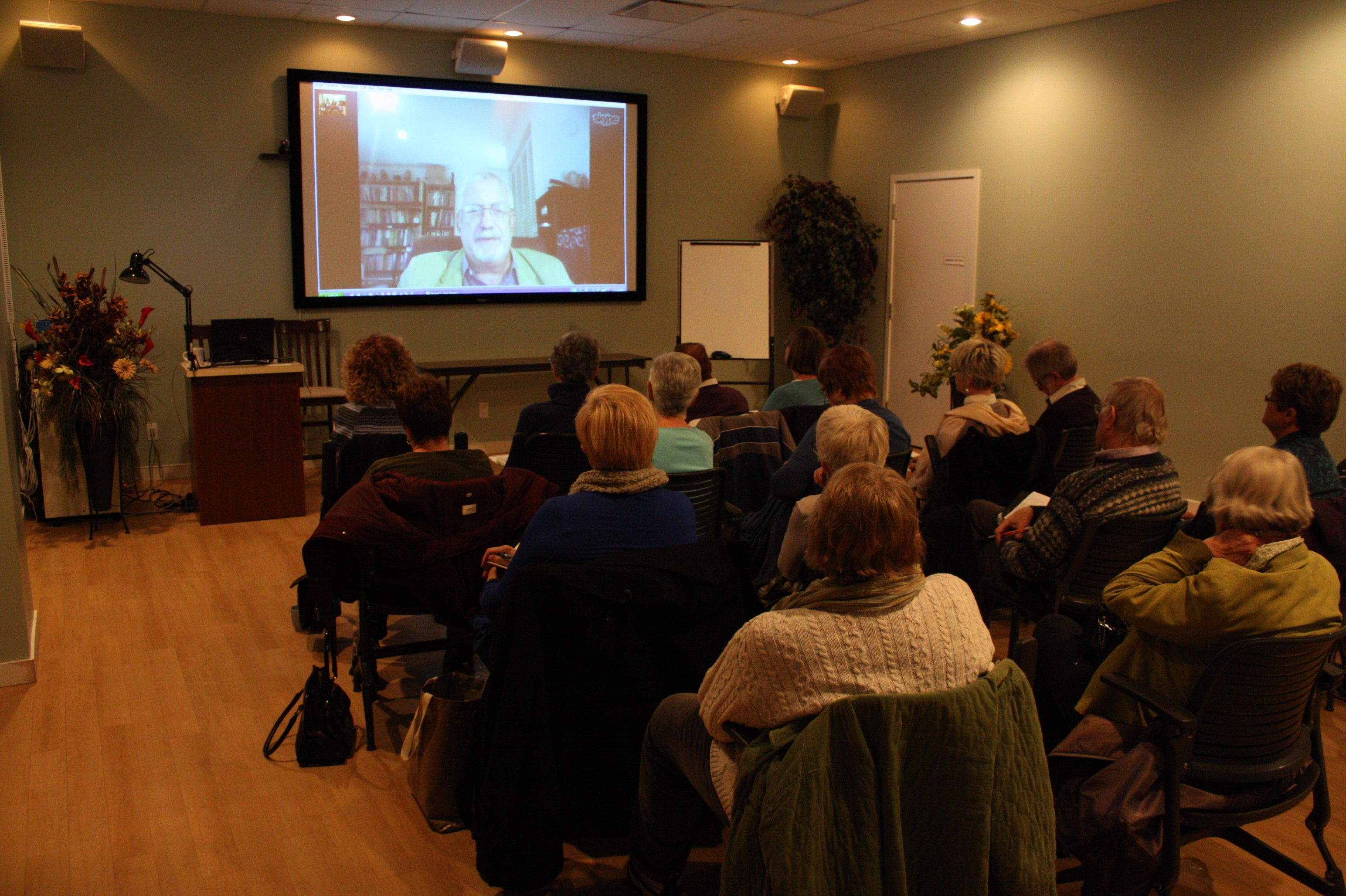 "The Calgary Association for Life-Long Learners listening to Norman Doidge talking to us via Skype from Toronto.   Dr. Doidge is the author of the book ""The Brain That Changes Itself""...fascinating read."
