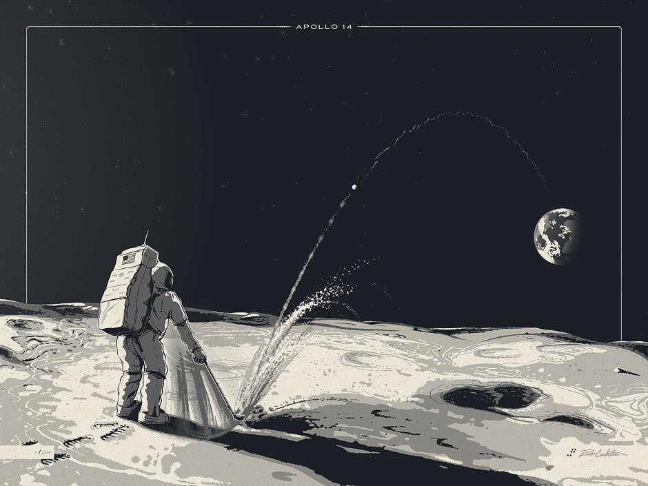 """""""Miles and Miles and Miles"""" by Rob Loukotka: a limited edition 24×18″ poster inspired by Apollo 14 astronaut Alan Shepard's historic lunar golf swing. Available now at https://fringefocus.com/i/miles-and-miles-and-miles/#"""