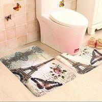 Wish 2pcs Set Paris Eiffel Tower Non Slip Bathroom Toilet Pedestal Rug Bath Mat Pedestal Rug Bathroom Bath Mats Bath Mat