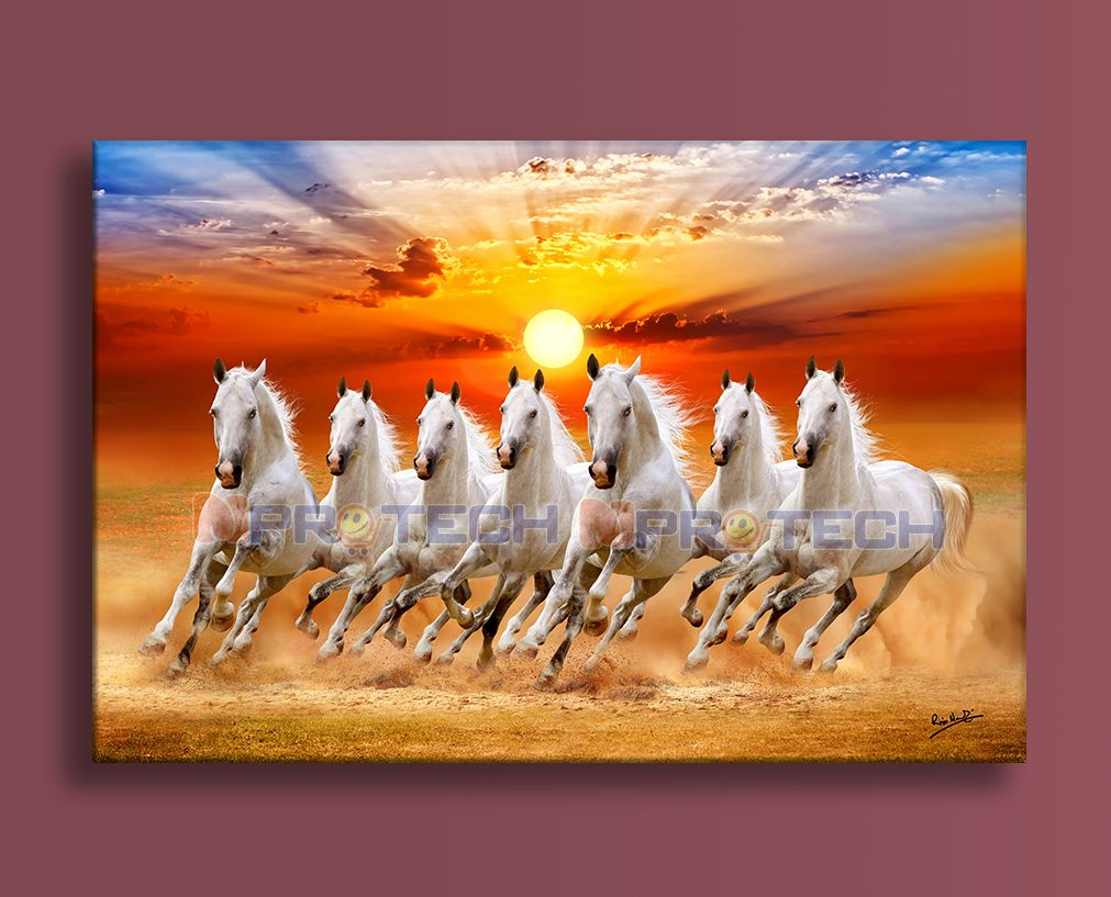 7 White Horse Seven Running Horses Painting For Home And Office In 2020 Horse Painting Painting Horse Canvas Painting