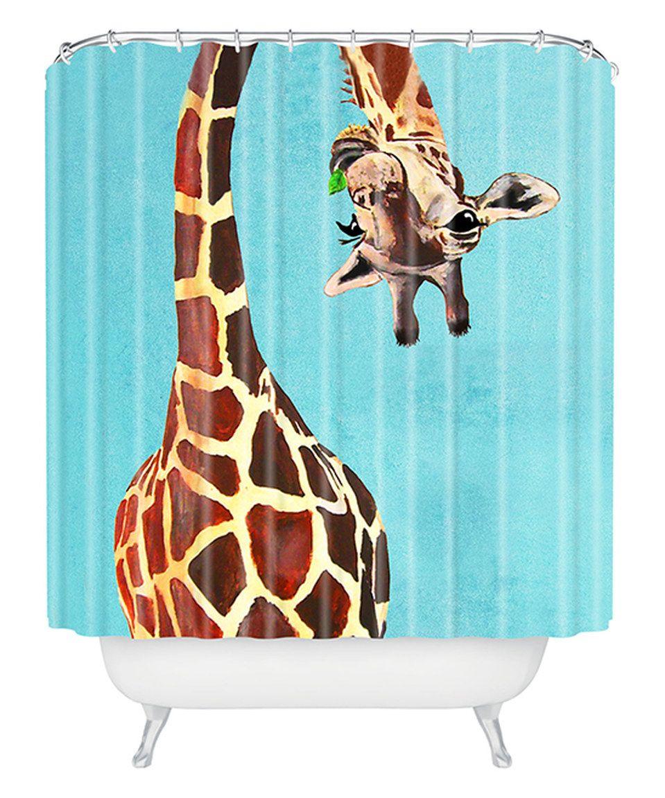 This Coco De Paris Giraffe With Green Leaf Shower Curtain