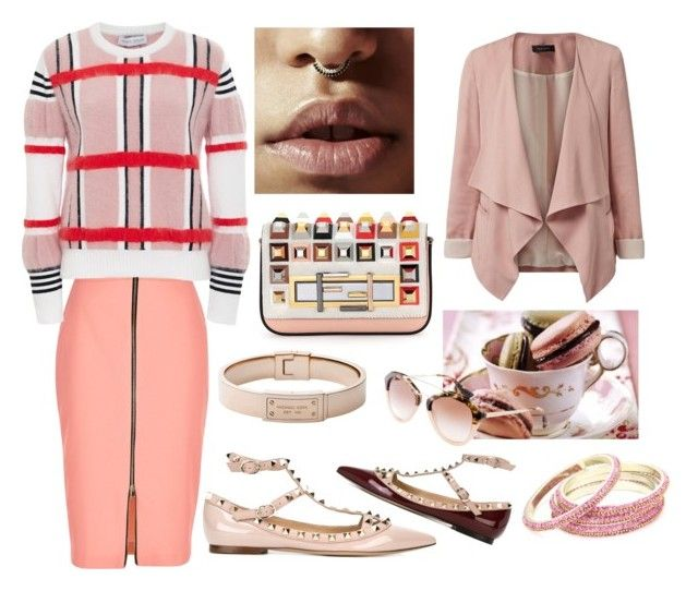 """Pink And Studded"" by motleymonroe on Polyvore featuring Valentino, Michael Kors, River Island, Tanya Taylor, Fendi, Prada and Chamak by Priya Kakkar"