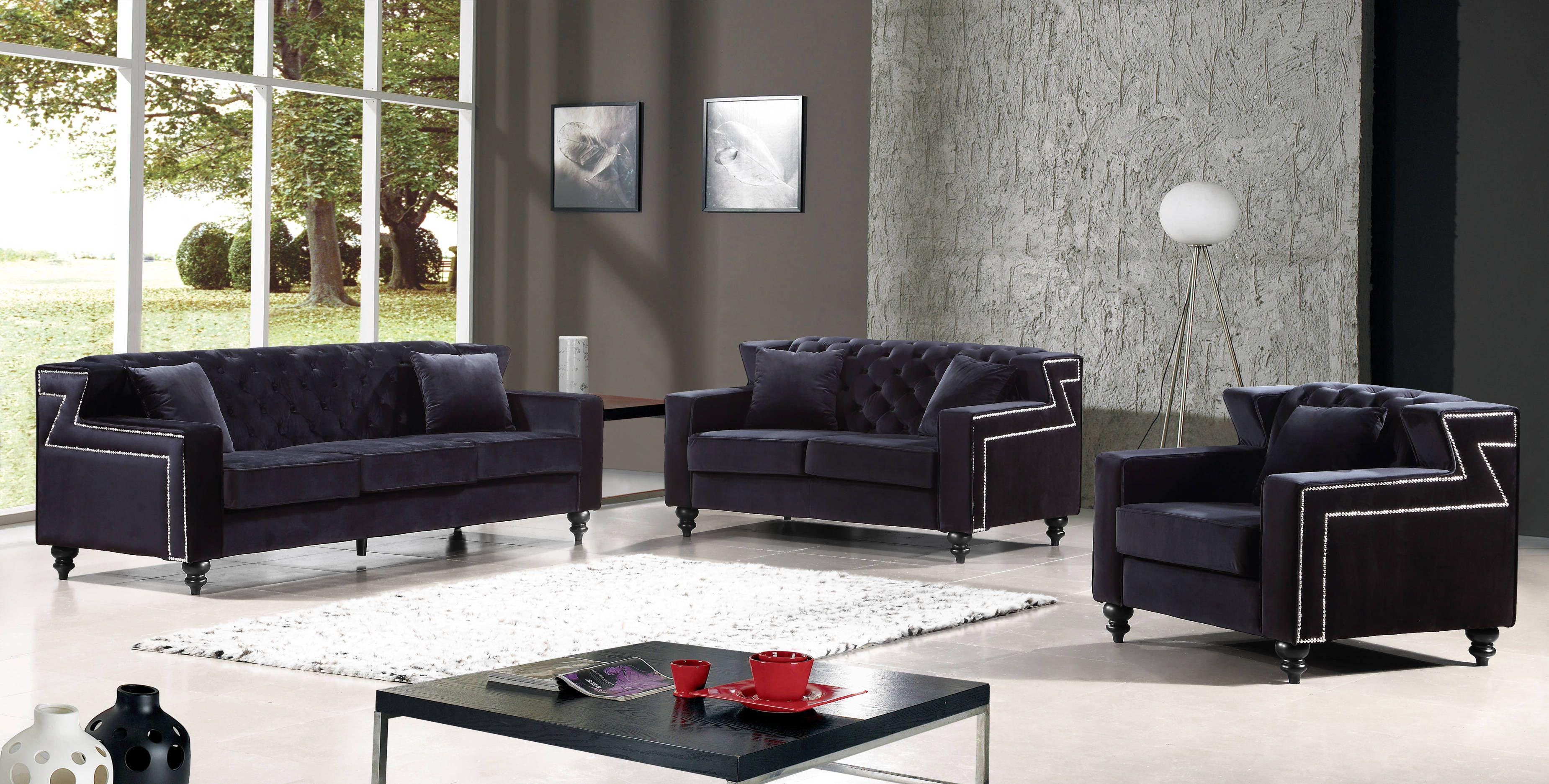 Harley Black Velvet Tufted Back Silver Nailheads Living Room Set Velvet Living Room Living Room Sets Meridian Furniture #velvet #tufted #living #room #set