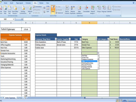 spreadsheet for business expenses