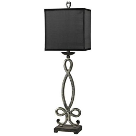 Athena Silver Buffet Table Lamp With Black Shade J2229 Lamps Plus Buffet Table Lamps Buffet Lamps Lamp Silver lamps with black shades