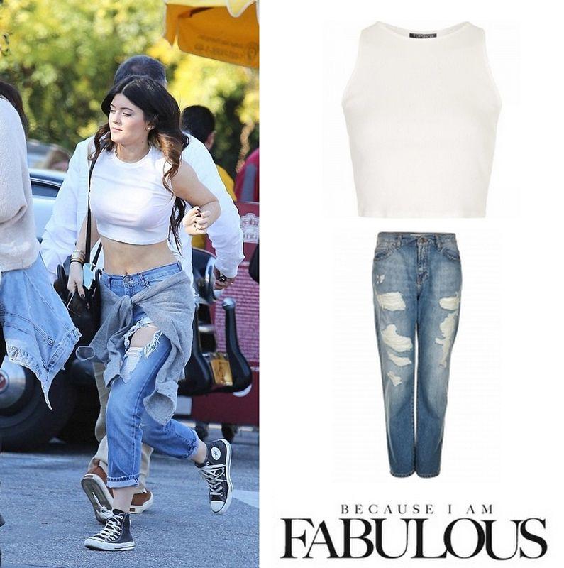 Shop Celebrity Closet: Kylie Jenner Topshop Rib Cutaway Tank Top ...