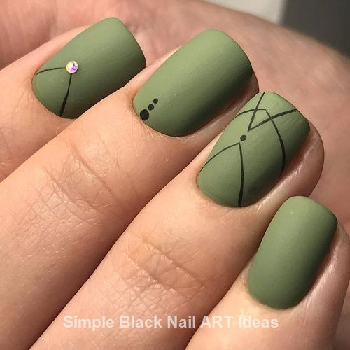20 Simple Black Nail Art Design Ideas Green Nail Designs Green Nail Art Olive Nails