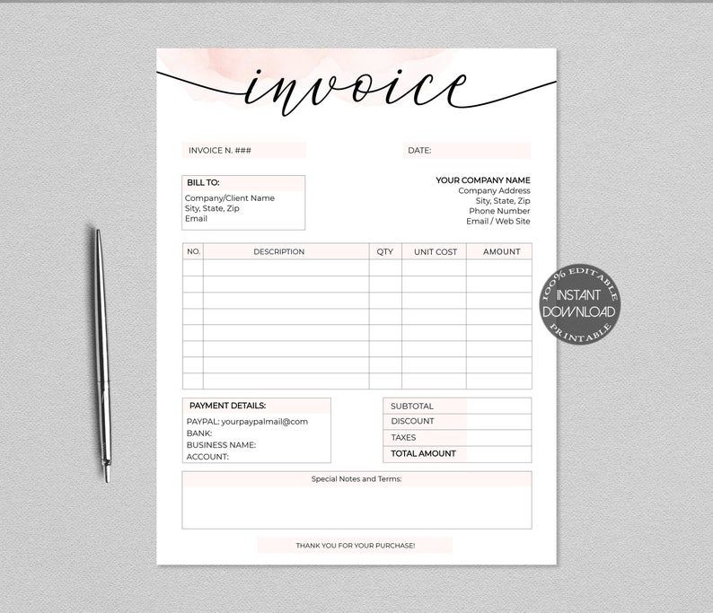 Business Invoice Template Printable Order Form Receipt Bill Etsy Invoice Template Business Template Template Printable