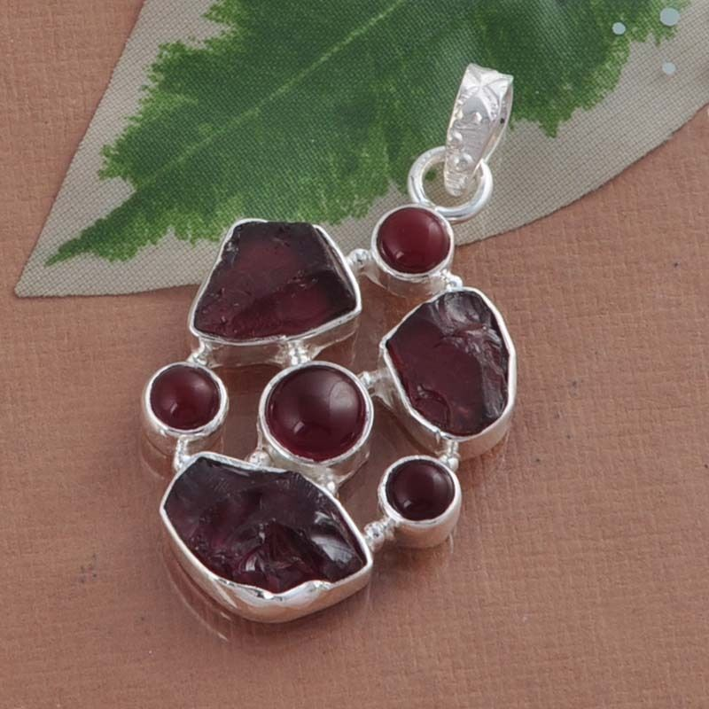 "Garnet Rough & Red Onyx 925 Pure Sterling Silver Solid Pendant Size 1.75"" P1755  #Handmade #Pendant"