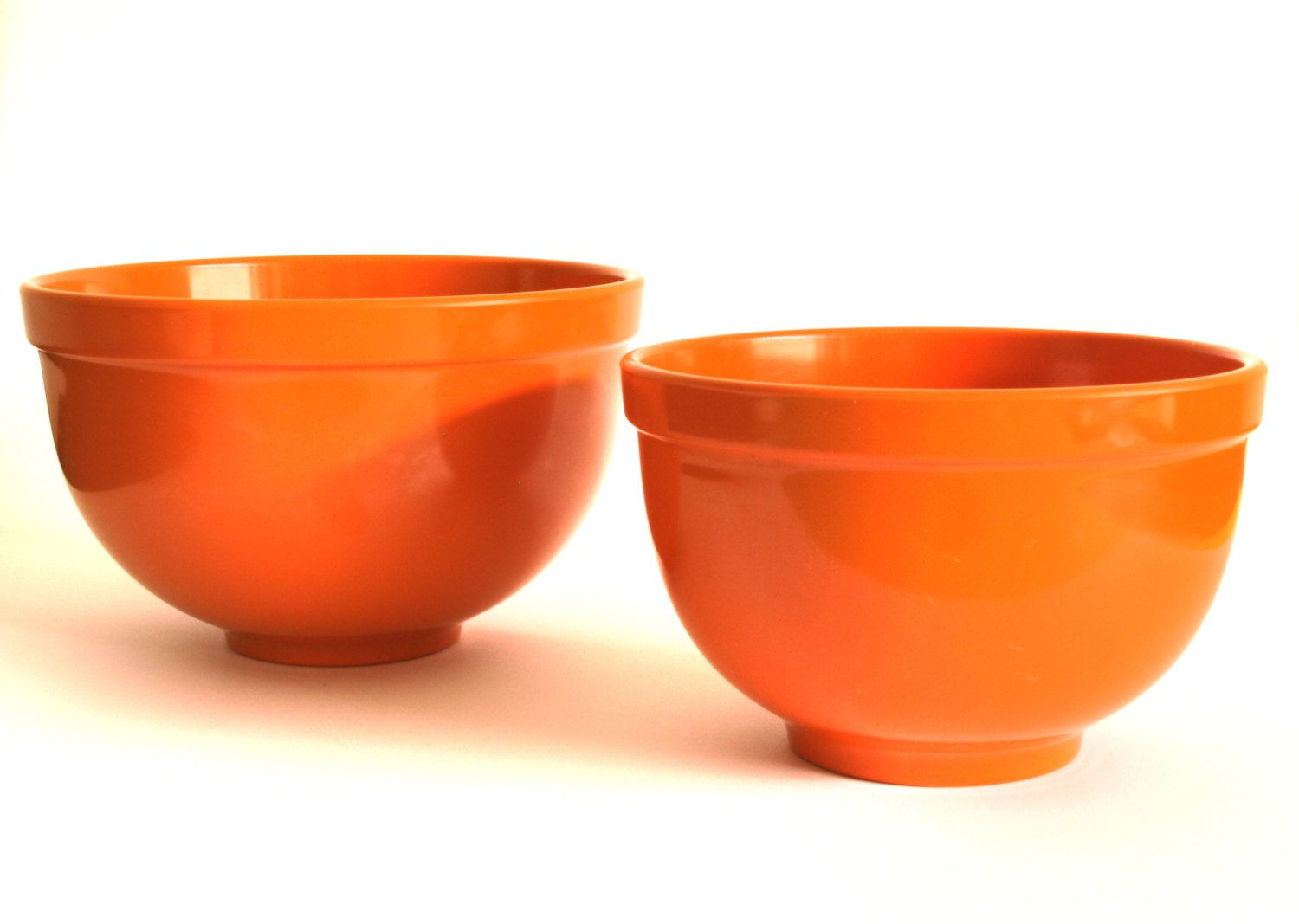 retro vintage melmac hollywood bright orange mixing bowls set of two 60s melamine bowls made by formline