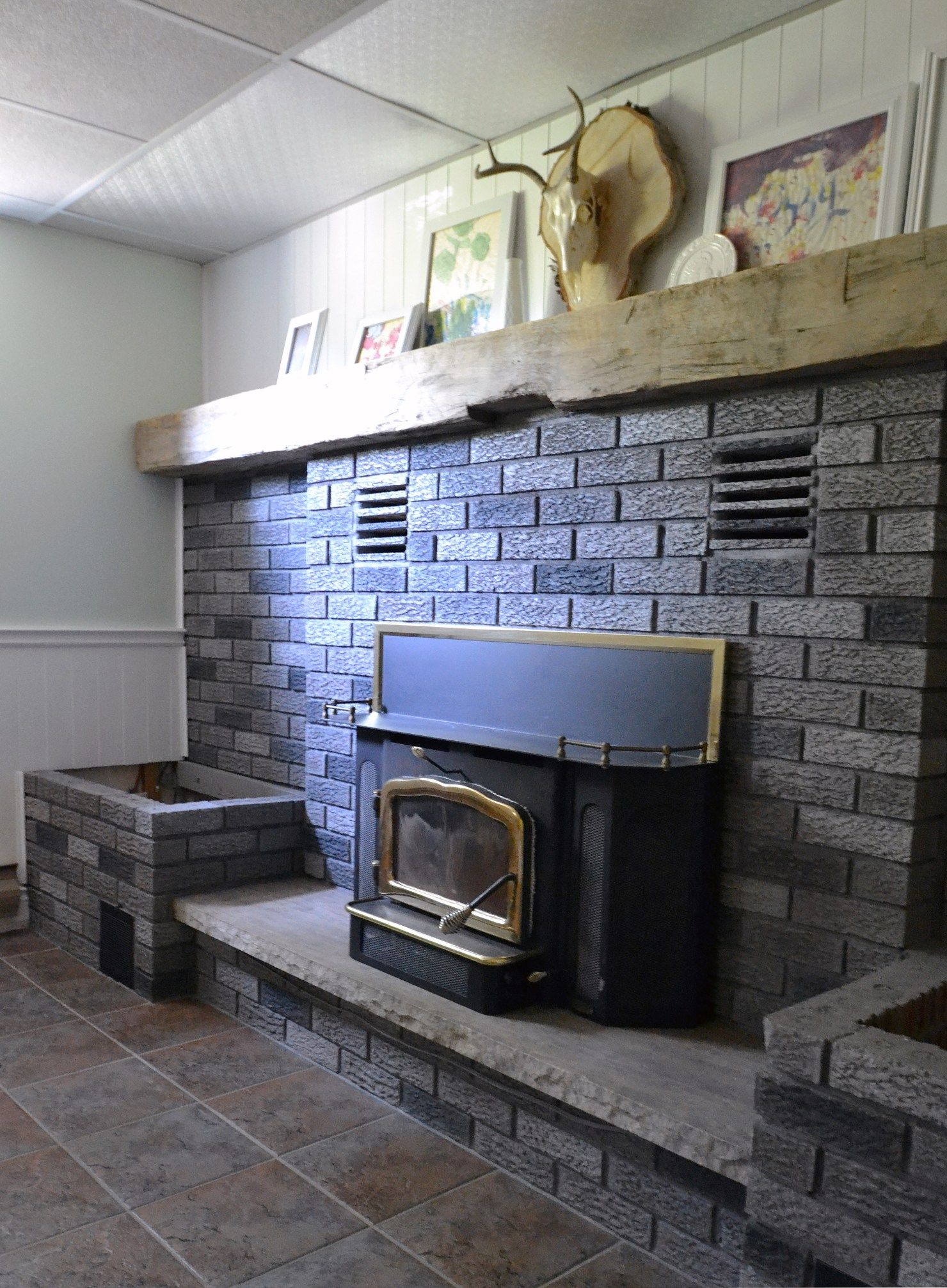 Grey Paint Wash On A Brick Fireplace Before u After Fireplace