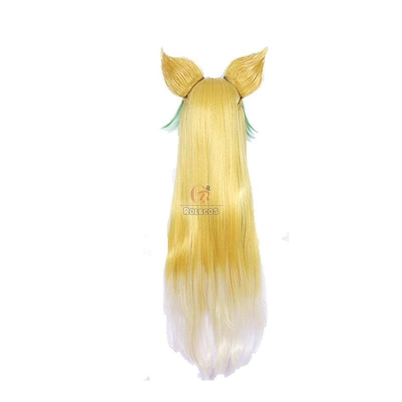Atalanta Halloween Party 2020 Fate Apocrypha Atalanta Yellow Mixed Green Cosplay Wigs With Ear