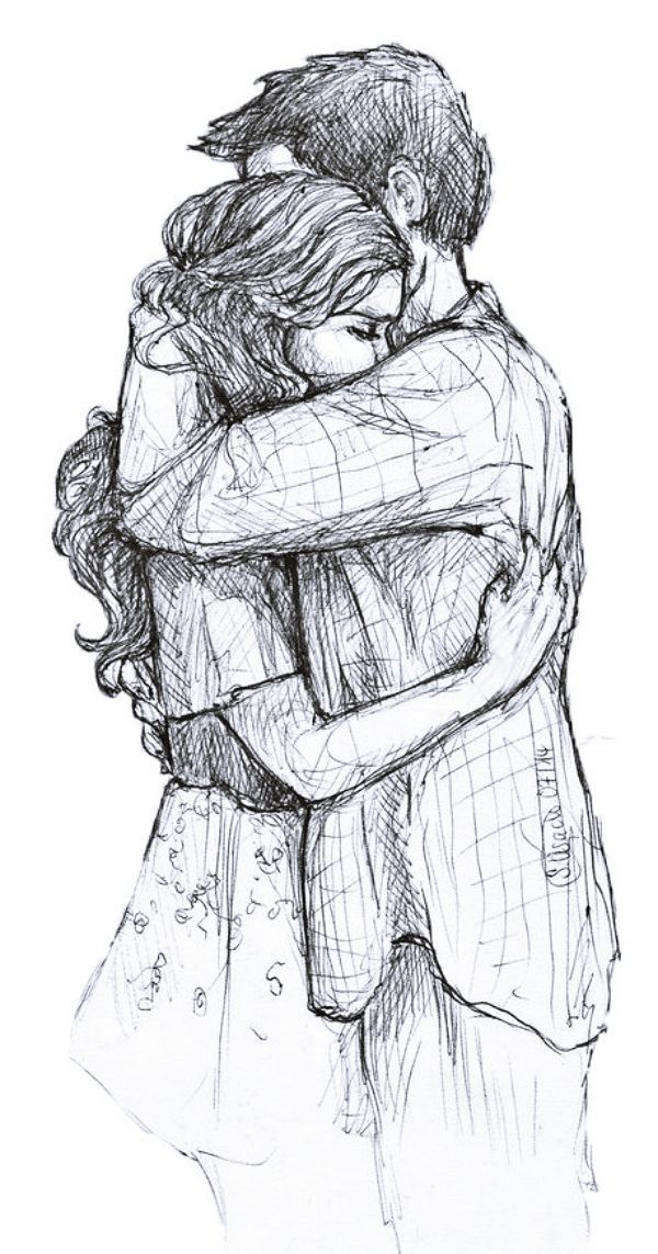 40 Romantic Couple Hugging Drawings and Sketches - Buzz 2018 #couplegoalsrelationships