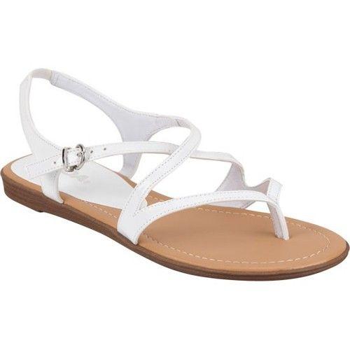 44f3bb76c23 Soda Women Flat Sandals White Color Strap Thongs Simple Cute Summer Shoe  Hoops H