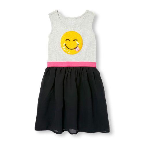 Girls Sleeveless Embellished Emoji Mixed Fabric Dress