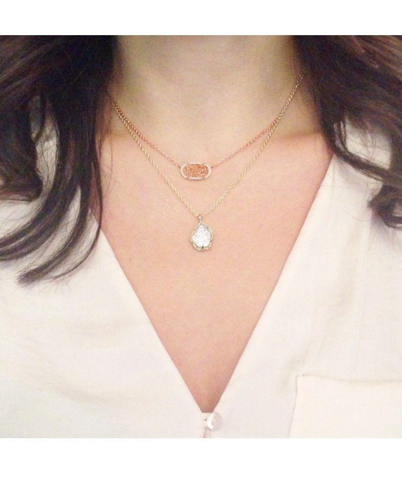 Elisa pendant necklace in champagne drusy kendra scott for Kendra scott fine jewelry